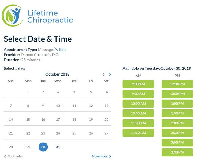Online Patient Scheduling Chiropractors